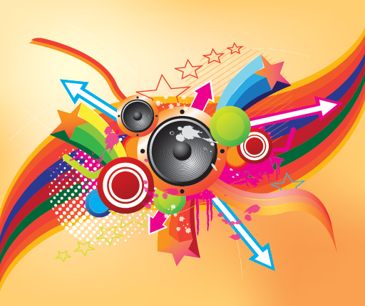 wallpaper retro music. 25 Colorful Vector Background