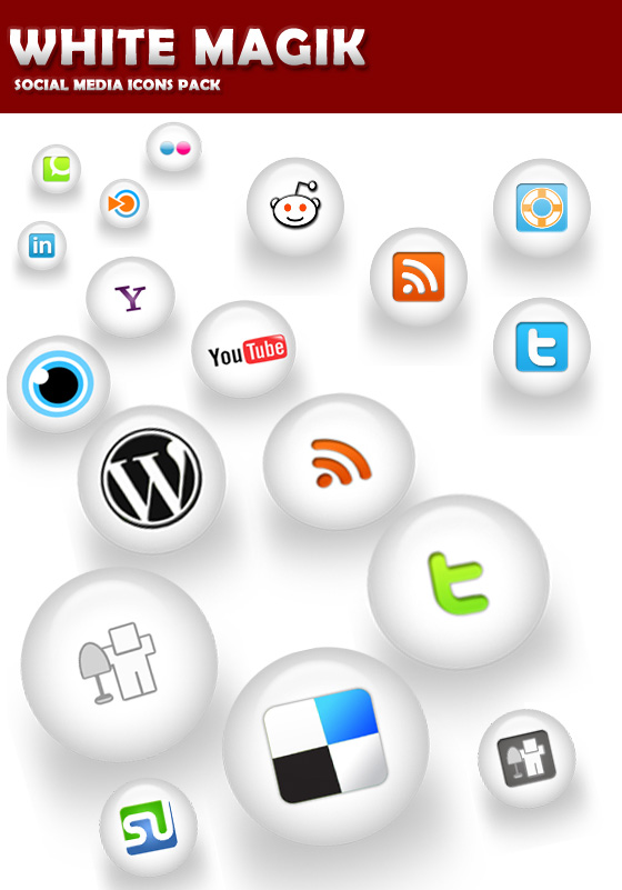 WHITE MAGIK Social Media Icons Pack