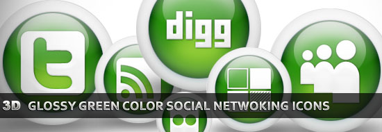 Post image of Download 3D Glossy Green Color Social Networking   Icons