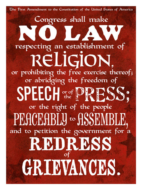 The First Ammendment Ready For Print Typography Poster
