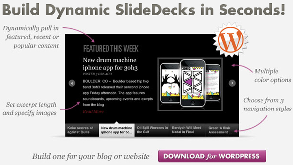 RSS Smart SlideDecks, Vertical Slides, Skin Support WordPress Plugin
