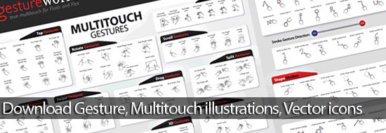 Download Gesture and Multitouch illustrations, Vector icons