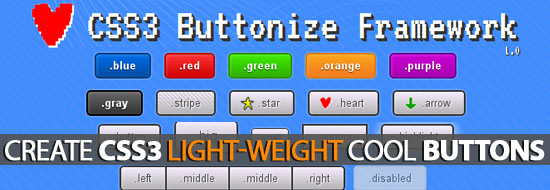 CSS3 Buttonize Framework: Create Light-Weight Cool Buttons