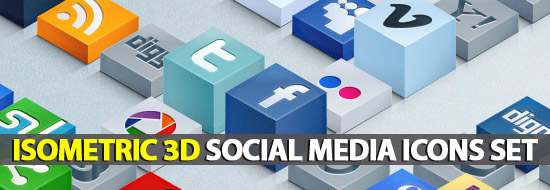 Post thumbnail of Isometric 3D Social Media Icons Set