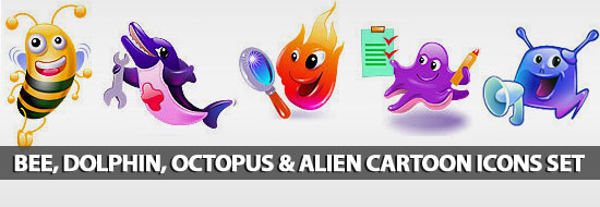 Free Colorful Bee, Dolphin, Octopus & Alien Cartoon Icon Sets