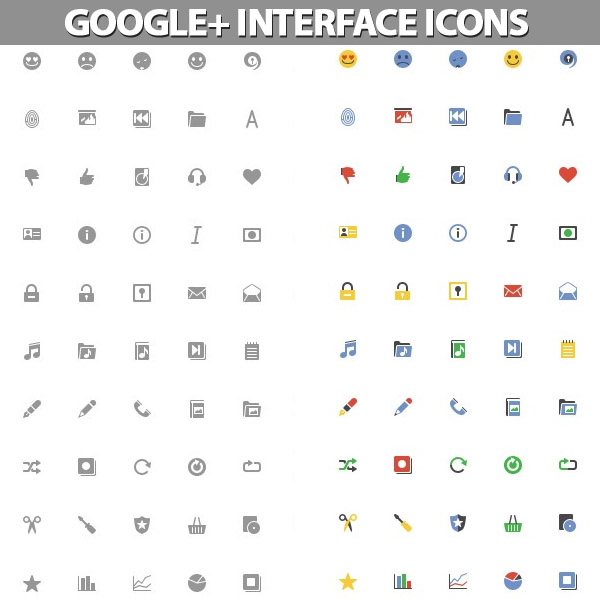 Google+ Interface Icons Set