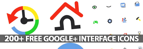 Post image of 200+ Google+ Interface Icons Set
