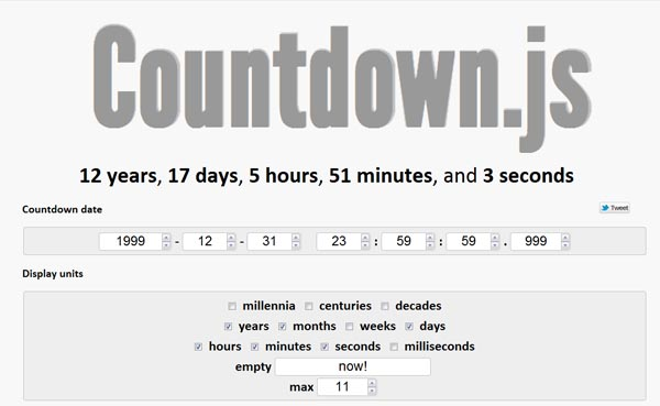 Calculate Time Between 2 Dates: Countdown.js