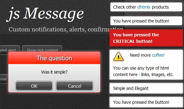 Display Stylish Alert & Notifications With jsMessage