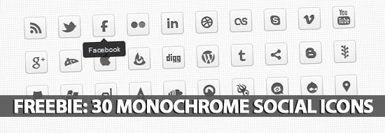 Freebie: 30 Monochrome Social Icons