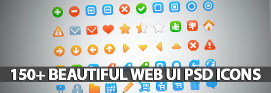 150+ Beautiful Web UI PSD Icons