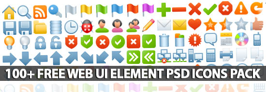 100+ Free Web UI Element PSD Icons Pack