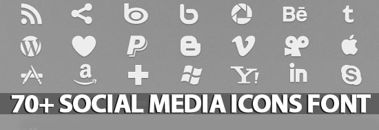 70+ Social Icons Font (Pictograms)