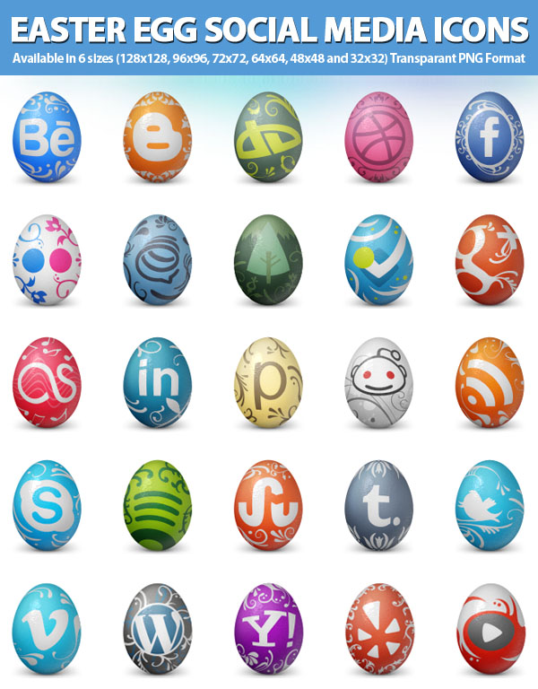 Easter Egg Social Media Icons