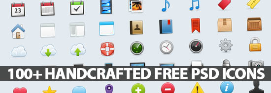 100+ Handcrafted Free PSD Icons