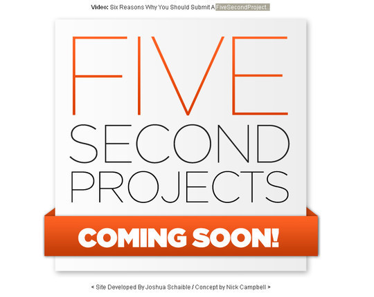 FiveSecondProject Coming Soon Page Design