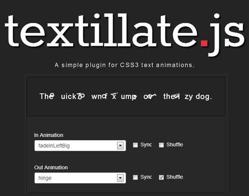 Textillate: CSS Text Animations jQuery Plugin