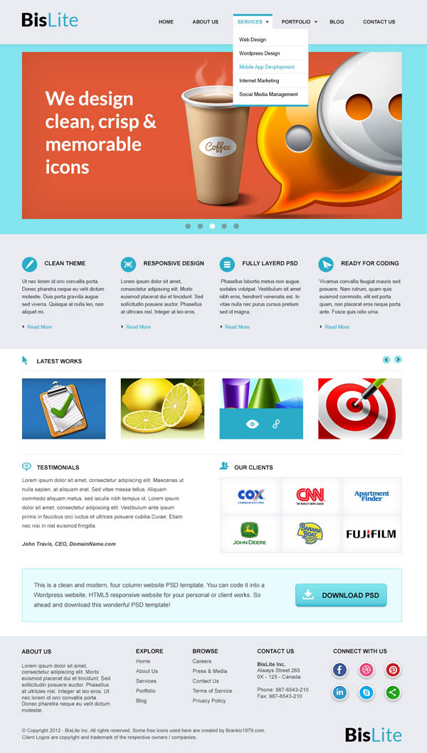 Fresh Free PSD Website Templates | Freebies | Graphic Design Junction