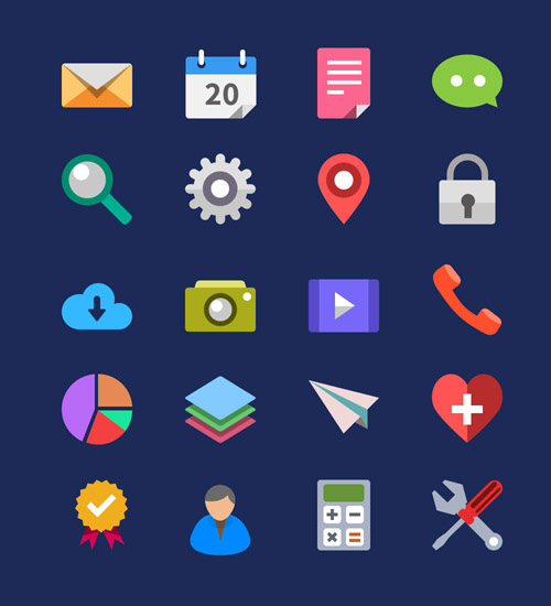 Flat Icons and Web Elements for UI Design-11