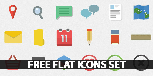 Free Flat Icons Set for Websites, Apps and Infographics