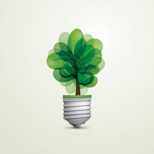 Green Light Bulb Vector Graphic
