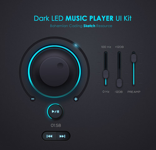 Dark LED Music Player UI KIT