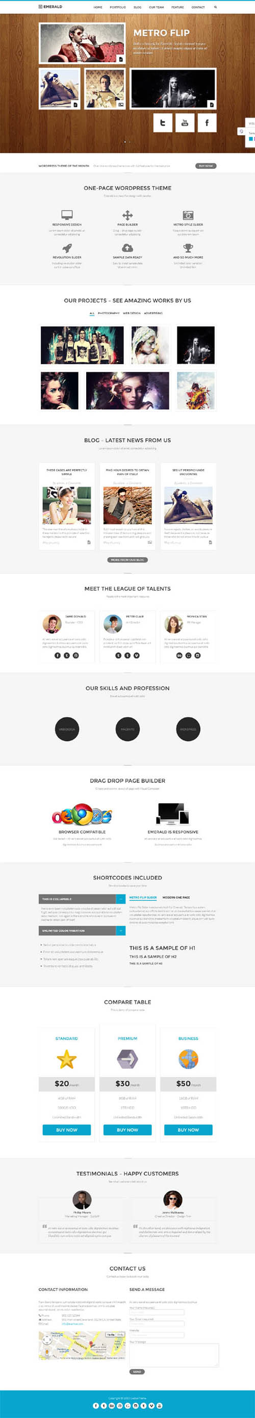 Emerald - Responsive Onepage WordPress Theme