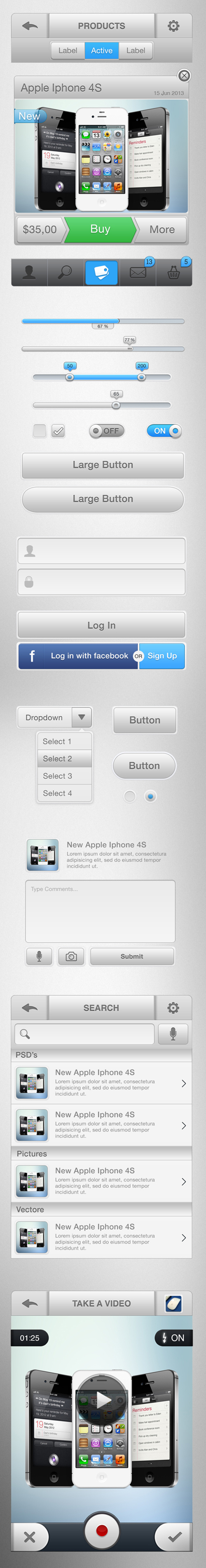 Store IOS GUI Kit Bright Gray