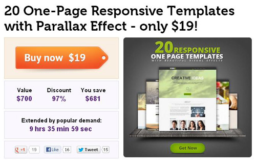 20 One-Page Responsive Templates with Parallax Effect