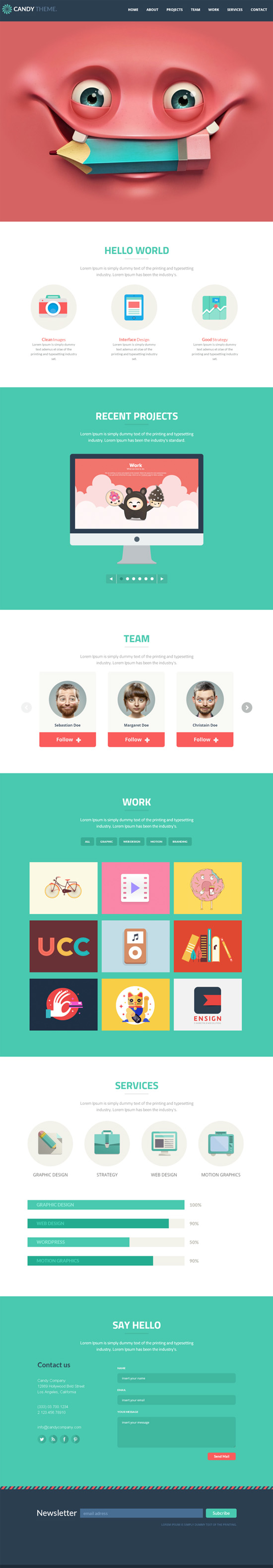 Candy - Onepage Flat Responsive WordPress Theme