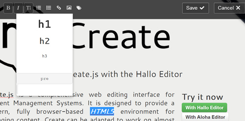 Create.js: HTML5 Web Editing Interface for Content Management Systems
