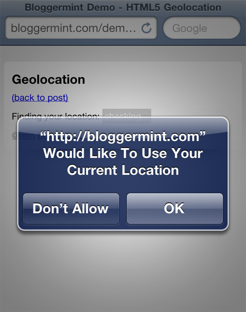 Detect Geolocation On Web Browser Using HTML5