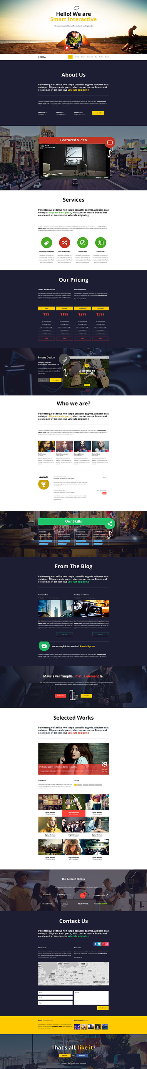 Smart Interactive HTML5 one page creative parallax