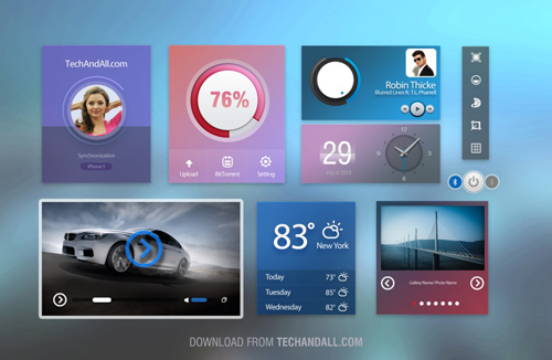 User Interface / UI kit with Cold Colors .PSD