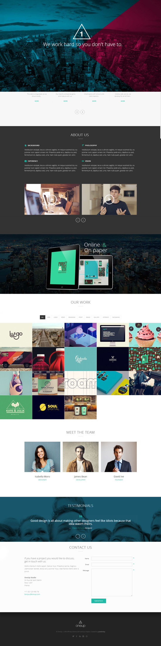 OneUp – One Page Parallax Retina WordPress Theme