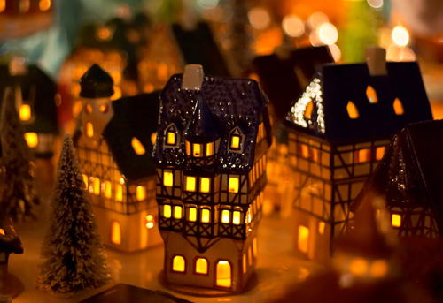 Christmas candle houses