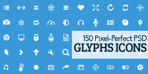 150 Free Pixel-Perfect Glyphs Icons in PSD