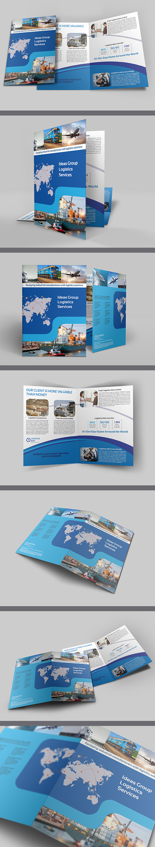 Logistics Services Bi Fold Brochure Template