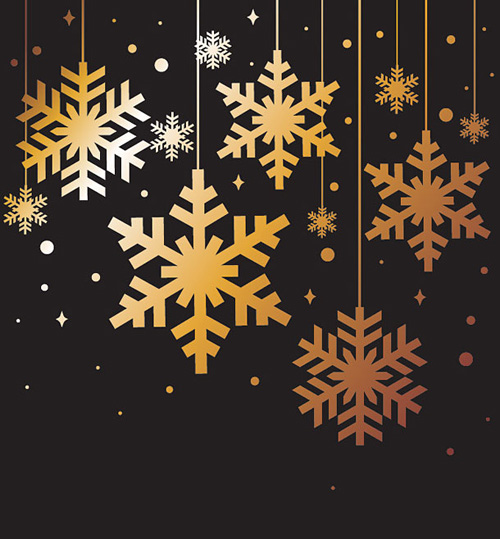 Golden Christmas Snowflakes