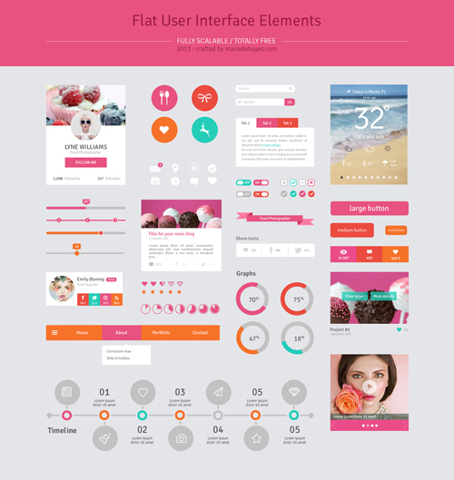Free Flat Psd Templates and Web Elements For UI Design | Freebies ...