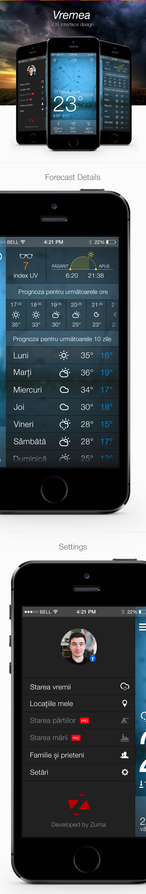 Weather Mobile App UI UX Design for Inspiration