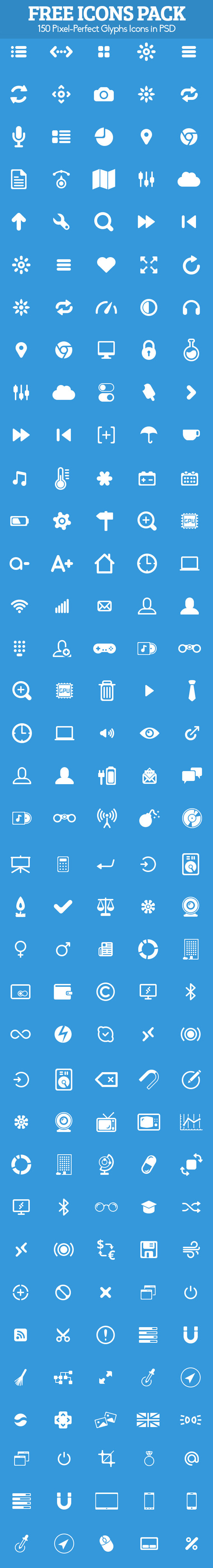 150 Free Glyphs Icons