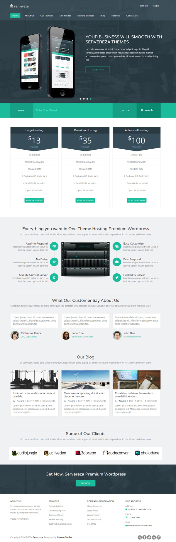 Servereza - Hosting Multipurpose WP Theme