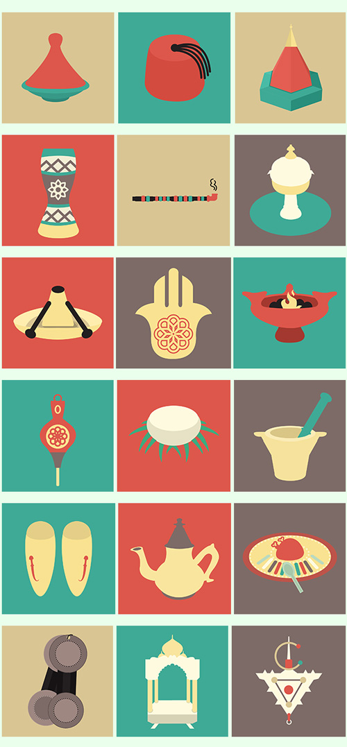 Moroccan Traditions Flat Icons