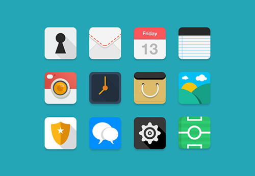 Flat & Coloured PSD Icons