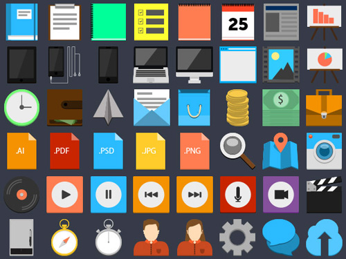 Flat-Style PSD Icons