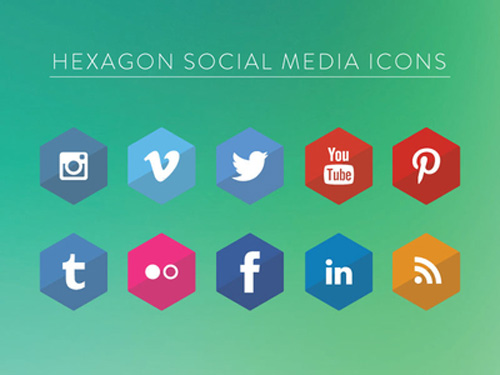 Hexagon Social Media Icons