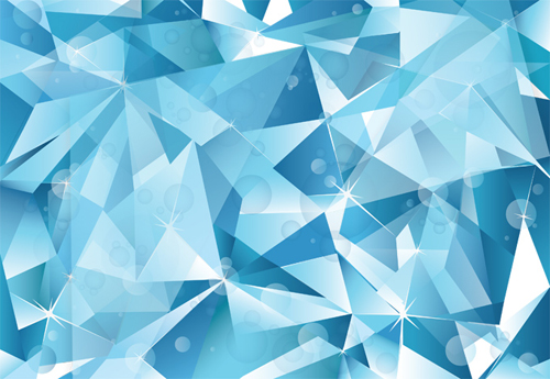 Abstract Blue Cubist Vector Ice Background - 20