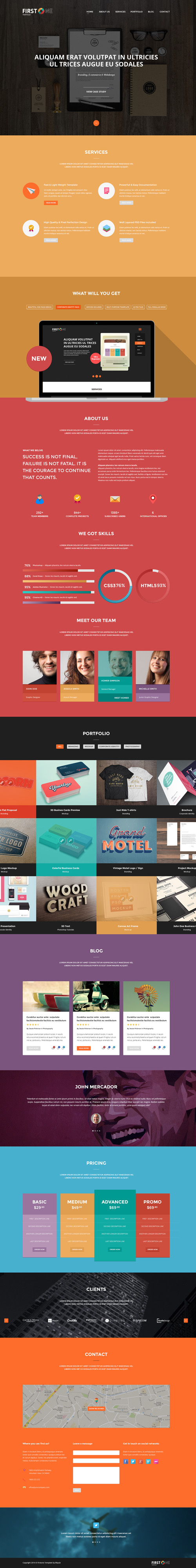 FirstONE – One Page Portfolio PSD Template