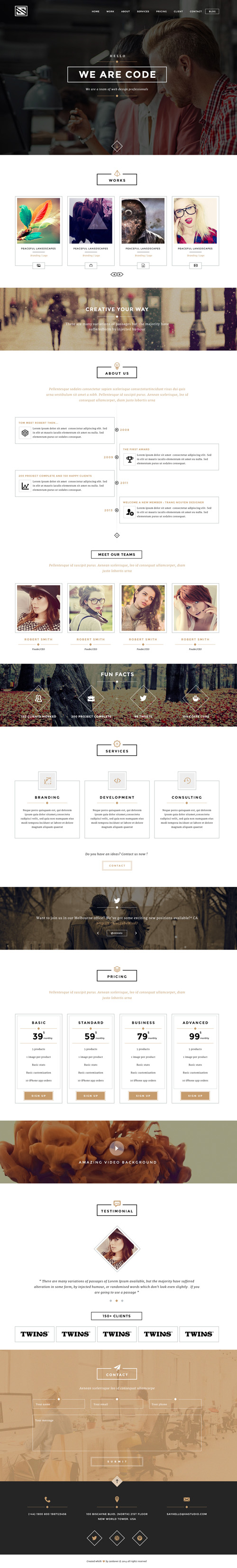 Vastudio - Creative One Page PSD Template